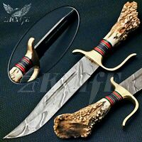CUSTOM HAND MADE DAMASCUS STEEL HUNTING BOWIE KNIFE HANDLE STAG ANTLER