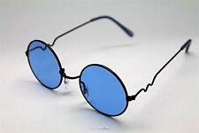 BLUE ROUND SUN GLASSES BLACK FRAMES TRIGUN VAMPIRE COSPLAY STEAM PUNK HIPPIE