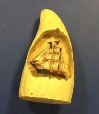 B.I.I. Scrimshaw Resin Carved Sperm Whale Tooth Schooner Whaler Ship Inset 1997