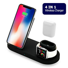 4 in 1 Qi Wireless Fast Charger Dock Stand For Airpods & Apple Watch iPhone iPad