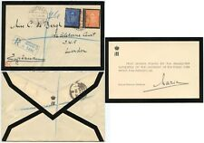 ROYALTY YUGOSLAVIA QUEEN MARIE SIGNED MOURNING CARD + STAMPS.. Hohenzollern 1934