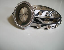 White/Black Wrap Around Watch with Bling Sparkly Rhinestones Crystals