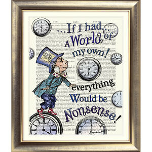 DICTIONARY ART PRINT ON BOOK PAGE Alice in Wonderland Quote MAD HATTER Picture