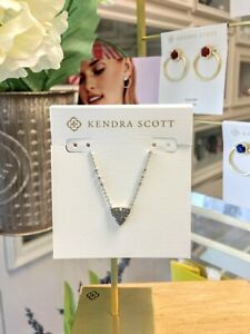 New KENDRA SCOTT brand Perry Silver Pendant Necklace In Steel Gray Drusy