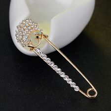 Women Scarf Clip Kilt Bridal Crystal Brooch Gold Peahen Jewelry Safety Pin