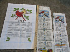 LOT OF 3 VNTAGE LINEN TEA TOWEL CALENDARS 1980-1981-2013 WITH CARDINALS USED