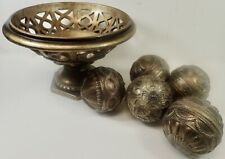 "contemporary home decor ornate bowl with 5 matching 4"" orbs antique metal look"