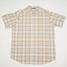 COLUMBIA ORANGE / GRAY SHADOW PLAID MENS Large short sleeved Button down shirt