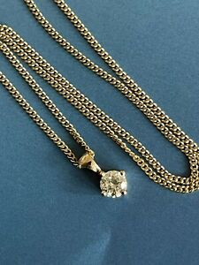 """9ct Yellow Gold Solitaire Diamond Necklace 0.75ct Pendant Chain 18"""" Nr 1ct"""