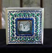 Lg Tin Box & Ceramic White Swan Tile by Tirso Cuevas, Mexican Folk Art Oaxaca