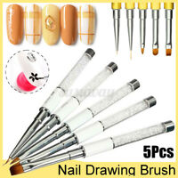 5PCS Nail Art Tips Design Dotting Painting Drawing Polish Brush Pen Tools  New