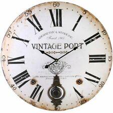 New Large Vintage Port Cream Beige Round Wall Clock Pendulum Retro 58cm Diameter