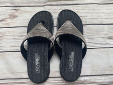 Reveal Love Your Look Black Silver Diamante Flip Flop Sliders Low Heel EU39 UK6