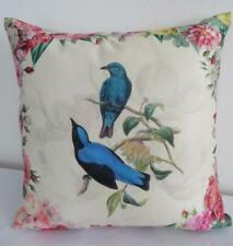 Top Quality - Birds & Pretty Country Flowers Faux Silk Cushion Cover 45cm