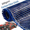 "36""x12"" 3K 200gsm Blue Carbon Fiber Cloth Fabric Plain Weave Twill Car Bicycle"