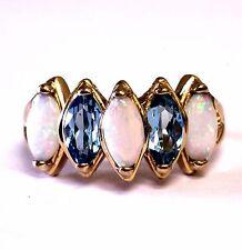 14k yellow gold Natural gemstone opal blue topaz ring band vintage estate 4.4g 8