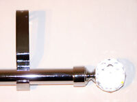 19mm Chrome Extendable Eyelet Tab Top Curtain Pole Crystal Ball Finials 1.2m 2m