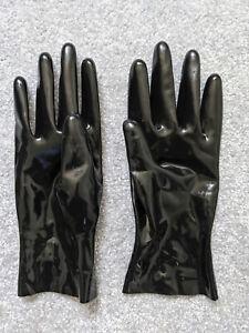 Chrlorinated Latex wrist short gloves black size M -Latexa 1108k made in Germany