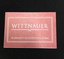 Warranty Regisration Form Wittnauer Original Watch