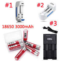 Lot EBL 3000mAh 3.7V 18650 Rechargeable Batteries For LED Flashlight / Charger