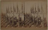 Cattedrale Da Milan Italia Foto Stereo Vintage Albumina Cartoncino Coupe
