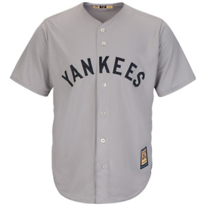 New York Yankees Jersey Men's Majestic CoopersTown Jersey - Grey - New