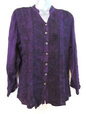 YAK & YETI Purple Long Sleeved Top Bohemian Embroidered Wicca Pagan BNWT L