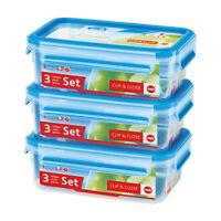 Emsa Clip & Close 3er Set Frischhaltedosen, Brotdose, Frischhaltebox, 508558