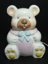 1985 Lefton China Jade Porcelain Teddy Bear Nursery Night Light #05308A
