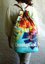 "DESIGUAL Extra Large Drawstring Bagpack Beach Bag ""SEX FUN LOVE"" 100% Cotton"