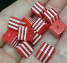 50 Square beads Cube Beads Red White Striped Resin Jewellery making Supplies