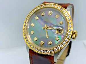 Rolex Oyster Perpetual Date Men's Black Mother Of Pearl Diamond Dial $8500