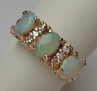 Ring mit Opalen und Diamanten 0,12 ct. in aus 14 Kt. 585 Gold Finger Damen Gr.53
