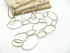Silpada Long Chunky Sterling Silver Hammered Link Statement Necklace SS52