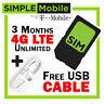 Simple Mobile Triple SIM Card 1 2 3 month $50 $60 UNLIMITED Prepaid Plan +Gift