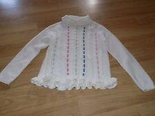 Size Medium 7-8 Gymboree White Cable Knit Turtle Neck Sweater Pastel Stripes EUC