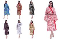 Indian Cotton Kantha Quilted Long Kimono Bath Robe Nightwear Gown Maxi Dress