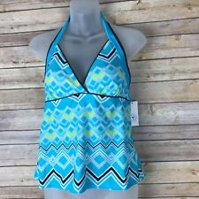 South Point Womens Tankini Top Halter V Neck Padded Cups Chevron Print Size 8