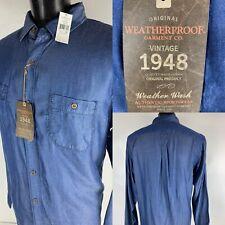 Weatherproof Vintage Denim Blue Dyed Long Sleeve Button Down Shirt X-Large XL