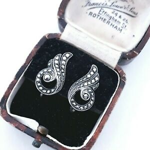 VINTAGE SIGNED 835 SILVER GRADUATED MARCASITE ANGEL'S WING LOVELY CLIP EARRINGS