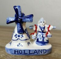Vintage Blue Delft Holland Hand Painted Porcelain Windmill Figurine Moveable 4""