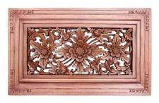 Relief Wall Panel 'Dream Flower' Sculpture Artist Hand Carved Wood NOVICA Bali