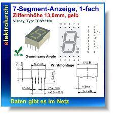 7-Segment-Anzeige, 1-fach, gelb, 13mm, gemein. Anode, VISHAY Typ: TDSY 5150, 2St