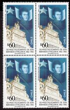 CHILE 1992 STAMP # 1588 MNH GENERAL O'HIGGINS BLOCK OF FOUR