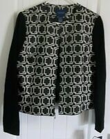 Don Caster Black White Women Lined Jacket 12 New With Tags $357