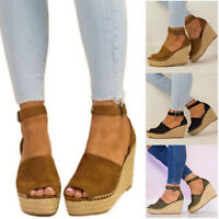 Womens High Wedge Espadrille Sandals Platform Ankle Strap Summer Open Toe Shoes