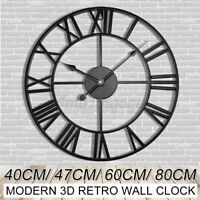 47cm/60cm Large Retro Black Iron Art Hollow Wall Clock Roman Numerals Home Decor