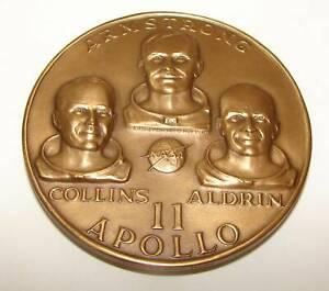 "Medallic Art Co Bronze Apollo 11 Medal 1969 Man's First Lunar Landing 2.5"""