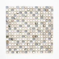 Mosaik Fliese Transluzent hellgrau silber Glasmosaik Crystal 92-HQ10_ 10 Matten