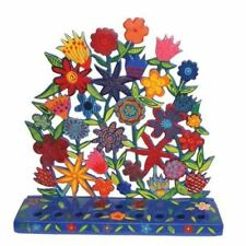 More details for yair emanuel hanukkah menorah flowers 22cm chanukah menora jewish hanukiah